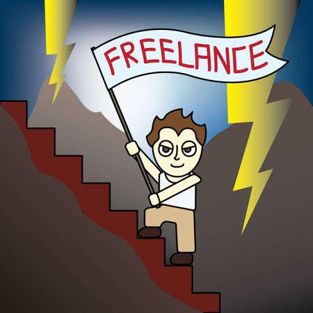 Cartoon Freelance man working life simulation