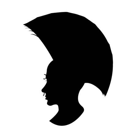 Silhouette shadow of Punk man with Mohawk hairstyle