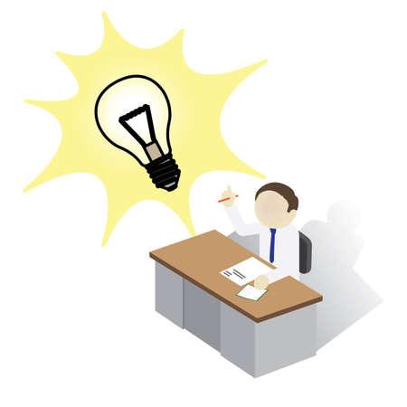 Man on a desk with Bright Idea Illustration