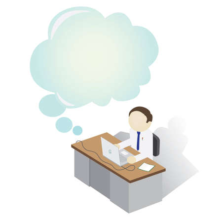 Man on a desk with Thinking Bubble