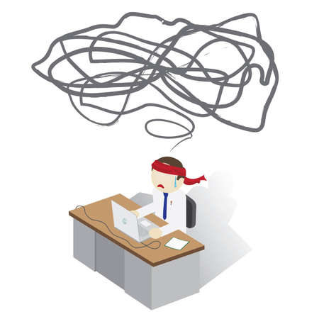 Frustrated Man on a desk having a Trouble Illustration