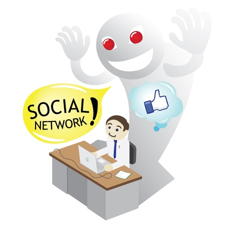 Man on a desk surfing Internet Social Media by Devil advice Vector