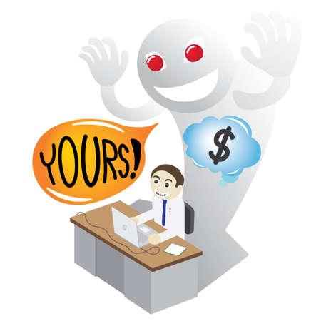 meanness: Man on a desk Misappropriating Money by Devil advice
