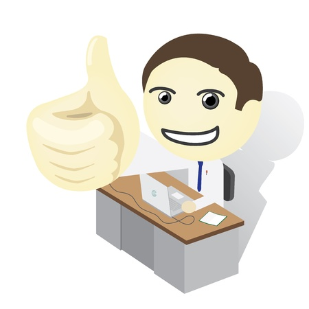 Man on a desk Thumb Up Stock Vector - 17041964