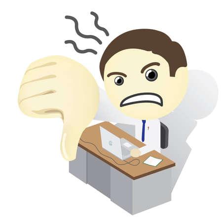 Man on a desk Thumb Down