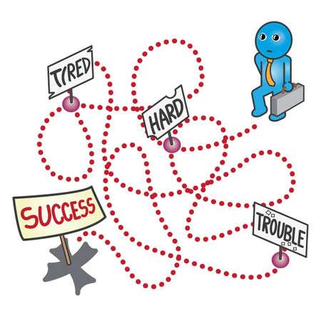 시뮬레이션: 성공의 포인트로 노동 생활의 만화 시뮬레이션