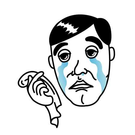 Man crying with handkerchief Illustration