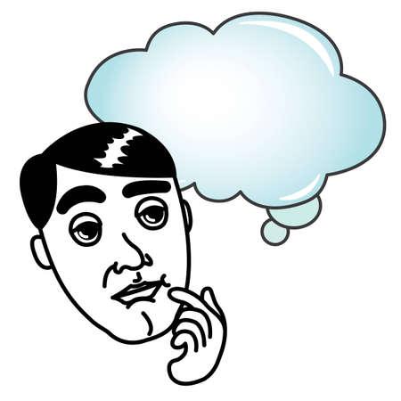 Man with Thinking Bubble cartoon