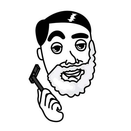 Man Shaving Face with Shaving Stick