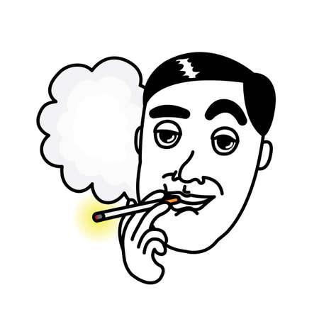 baccy: Man smoking Cigarette