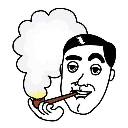 baccy: Man smoking Pipe  Illustration