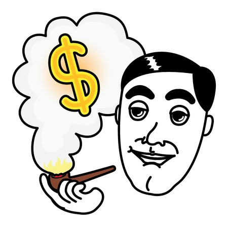 Man smoking Pipe and thinking about Dollar money Stock Vector - 17084096