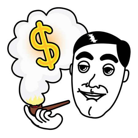 smoking pipe: Man smoking Pipe and thinking about Dollar money Illustration