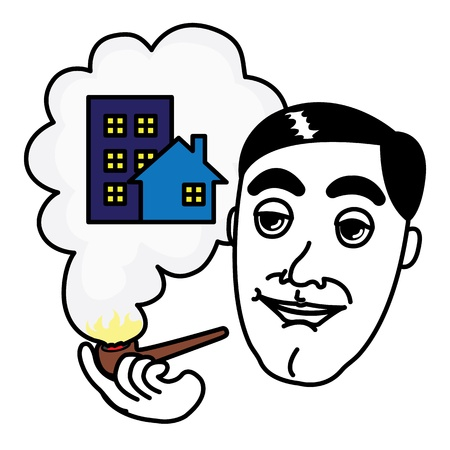 Smoking pipe Man thinking about Real Estate Illustration
