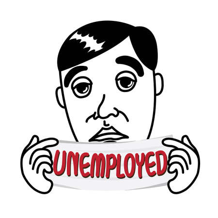 Man with Unemployed status white banner