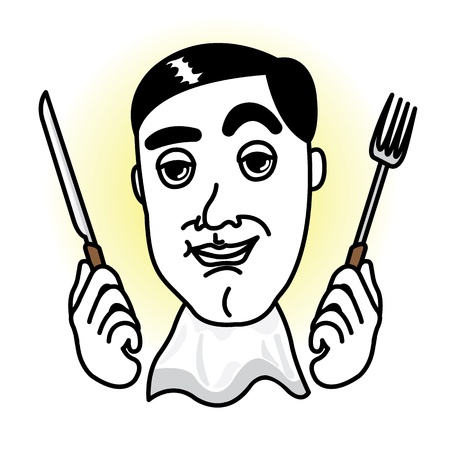 natty: Man in a dinner time with knife,fork and apron