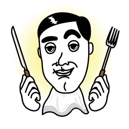 Man in a dinner time with knife,fork and apron