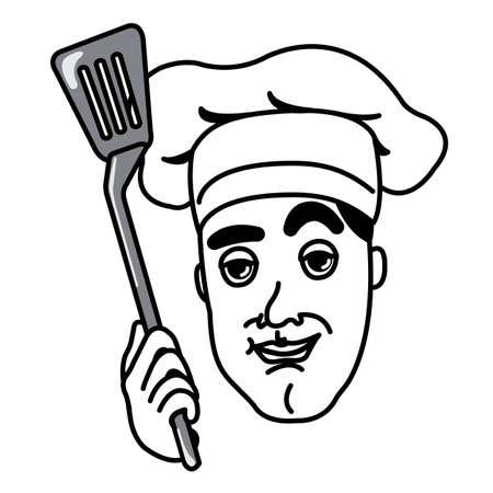 flipper: Chef avec un flipper cuisine Illustration