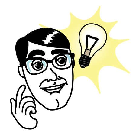 Genius man with bright Idea Illustration