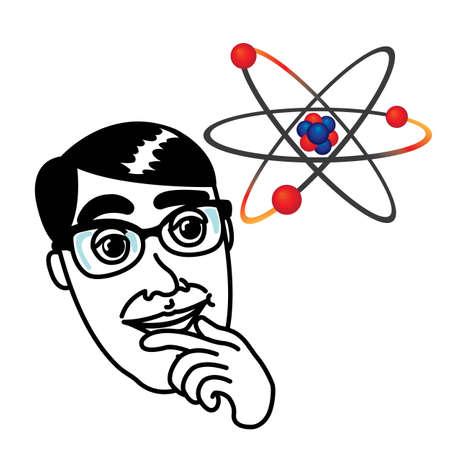 Genius man with atom molecule model Stock Vector - 17084100
