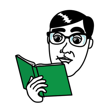 Man reading a book with glasses