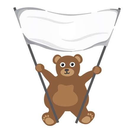Cartoon little bear with white empty banner Illustration
