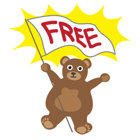 Cartoon little bear with white banner text free