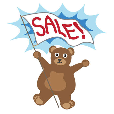 Cartoon little bear with white banner text sale Illustration