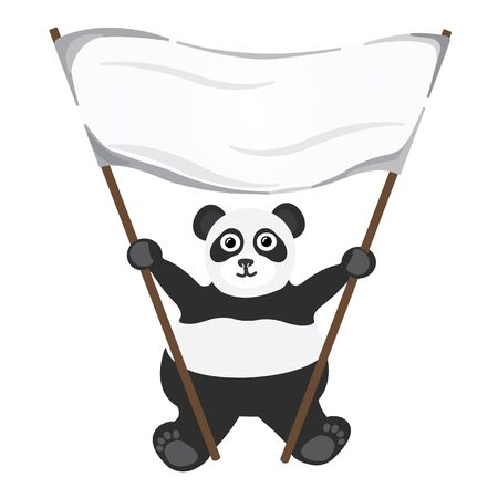Cartoon little panda with white empty banner Illustration