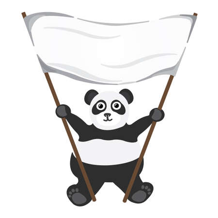 Cartoon little panda with white empty banner Stock Vector - 17084115