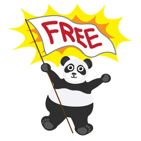 Cartoon little panda with white banner text free