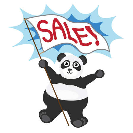 Cartoon little panda with white banner text sale Illustration