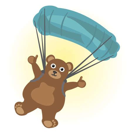 Cartoon little bear parachute jumping