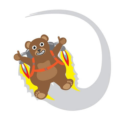 Cartoon little bear with jetpack