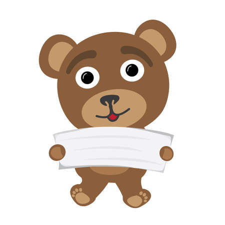 Little bear with white empty banner