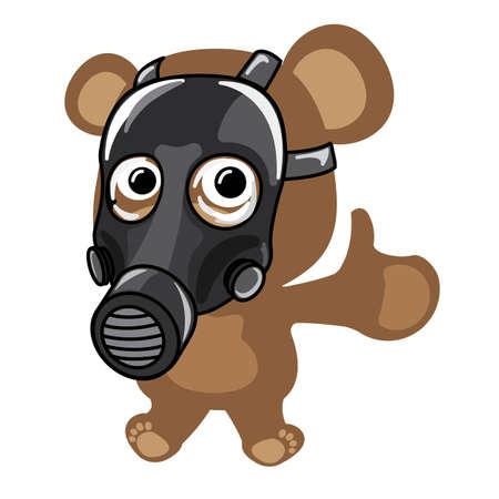 Little bear wearing gasmask