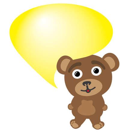 Little bear talking bubble Illustration