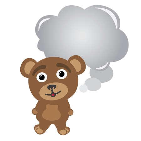 Little bear thinking bubble Illustration