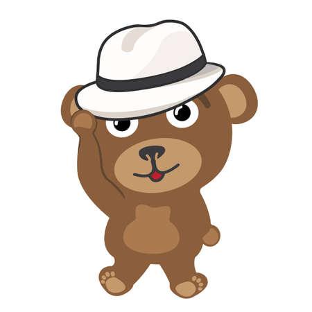 Little bear wearing vintage hat