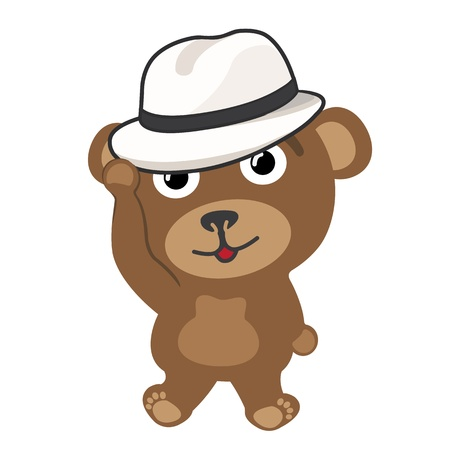 Little bear wearing vintage hat Vector
