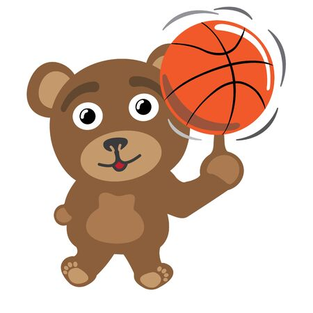 Little bear spinning basketball