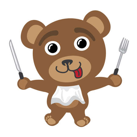 Little bear ready to eat Vector