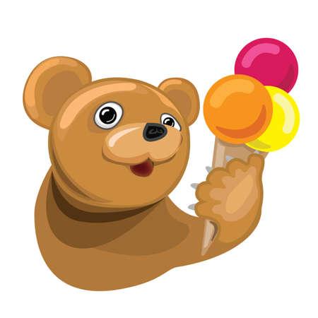 Cartoon bear with ice cream cone