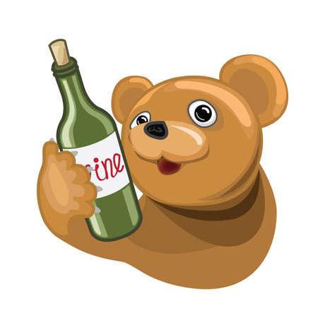 Cartoon bear with wine bottle Illustration