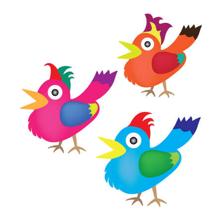 Various type of colorful birds  Illustration