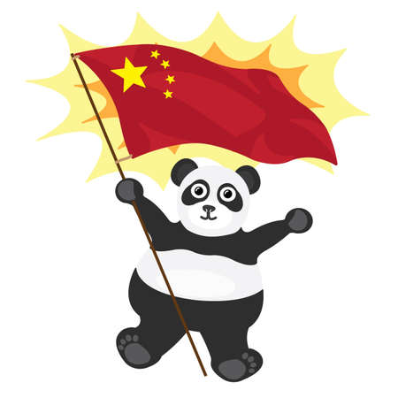 Cartoon little panda with Chinese flag