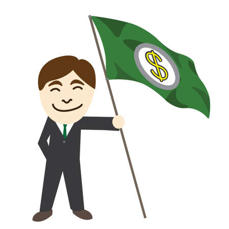 Business man with US dollar flag banner