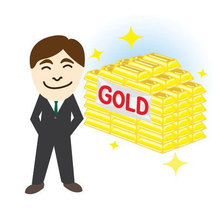 Business man with gold investment idea