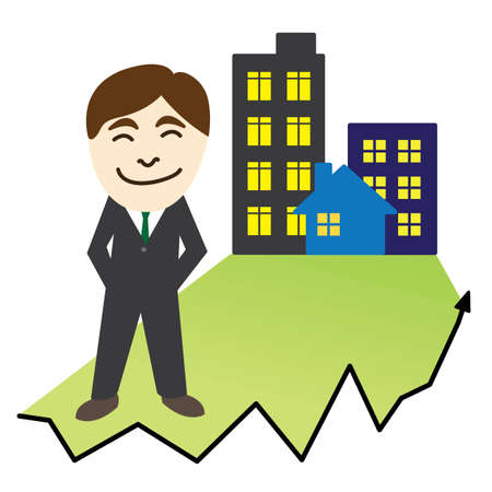 investor: Real estate investor with graph and arrow Illustration