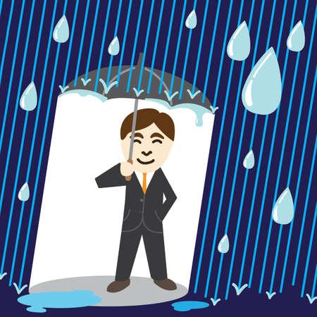 Business man holding umbrella in the rain